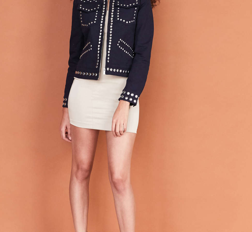 Slide View: 5: Ecote Studded Zip-Up Jacket