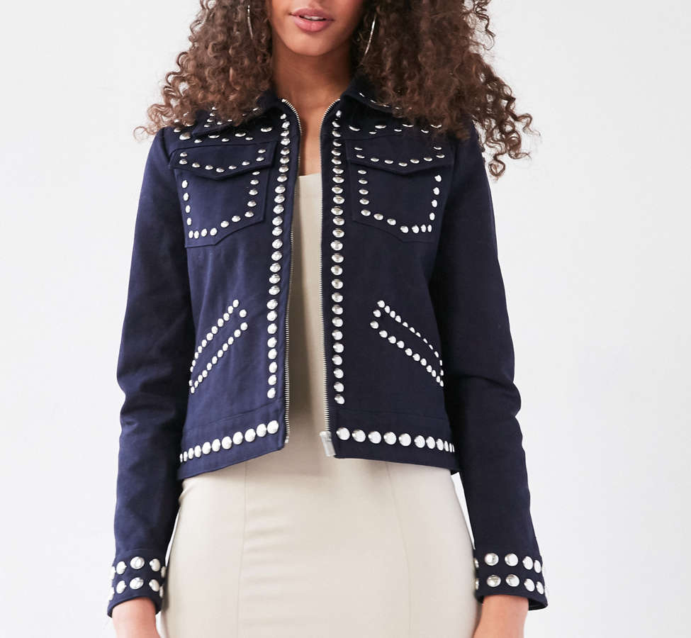 Slide View: 6: Ecote Studded Zip-Up Jacket