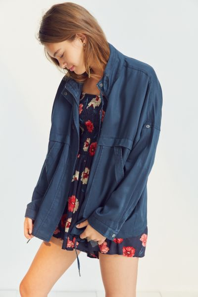 Kimchi Blue Cropped '80s Anorak Jacket - Navy XS at Urban Outfitters