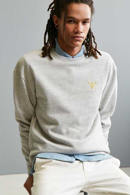 UO Stockton Embroidered Fleece Crew Neck Sweatshirt