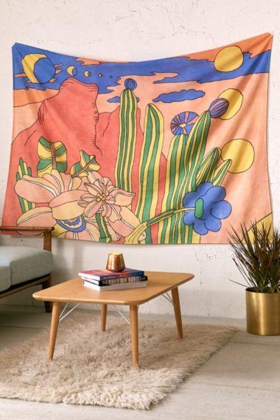 Retro Desert Landscape Tapestry