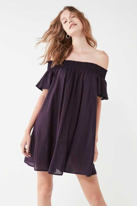 Cooperative Striped Off-The-Shoulder Flutter Sleeve Dress