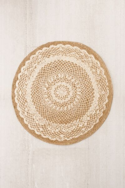 Gili Lace Print Round Jute Rug Urban Outfitters