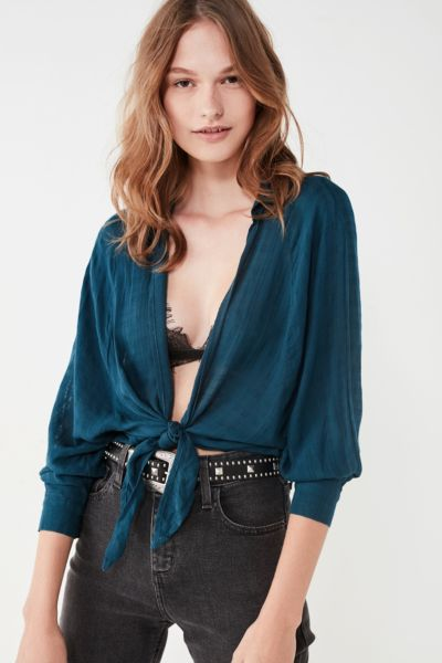 BDG Courtney Tie-Front Open Blouse - Blue XS at Urban Outfitters