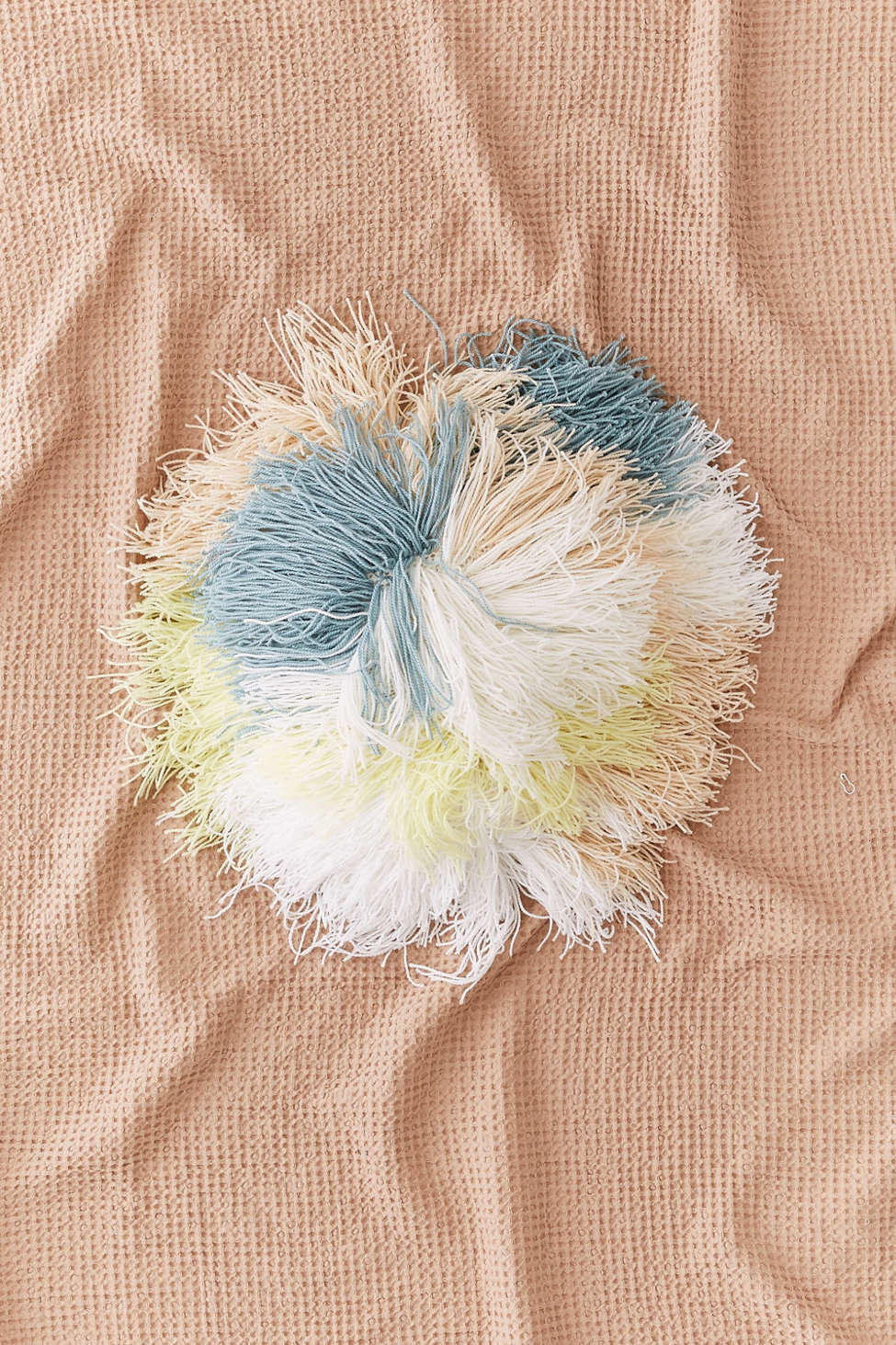 Slide View: 1: Round Shaggy Pastel Pillow