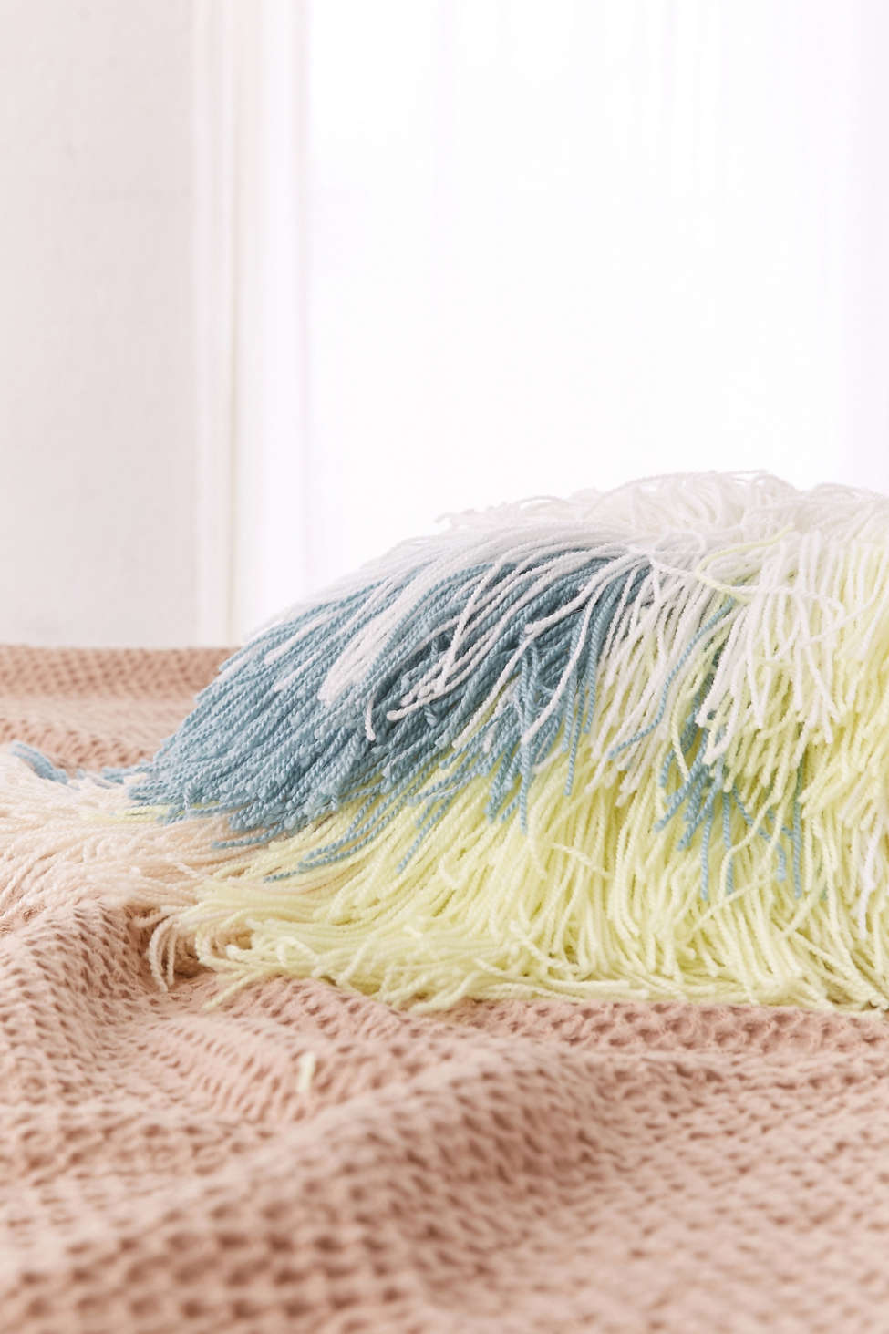 Slide View: 3: Round Shaggy Pastel Pillow