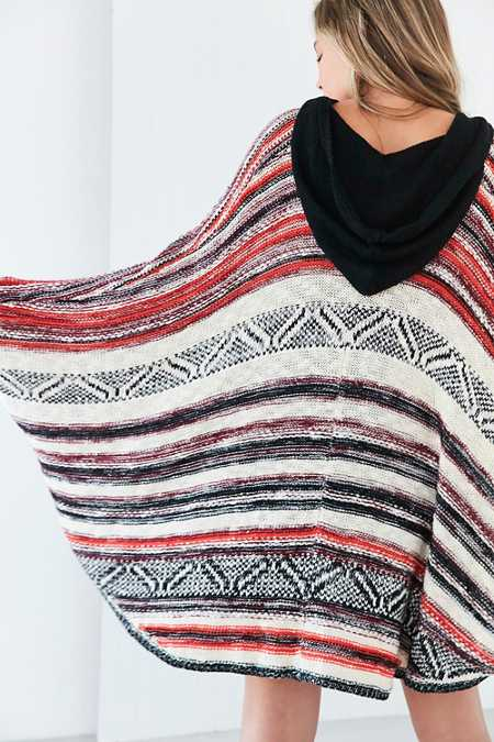 Ecote Printed Hoodie Poncho Sweater
