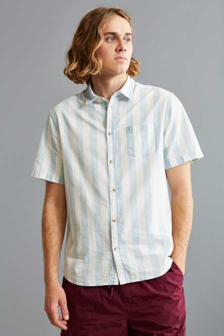 UO Broad Stripe Short Sleeve Button-Down Shirt