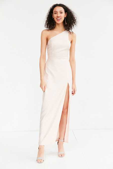 Silence + Noise Metallic One-Shoulder Maxi Dress