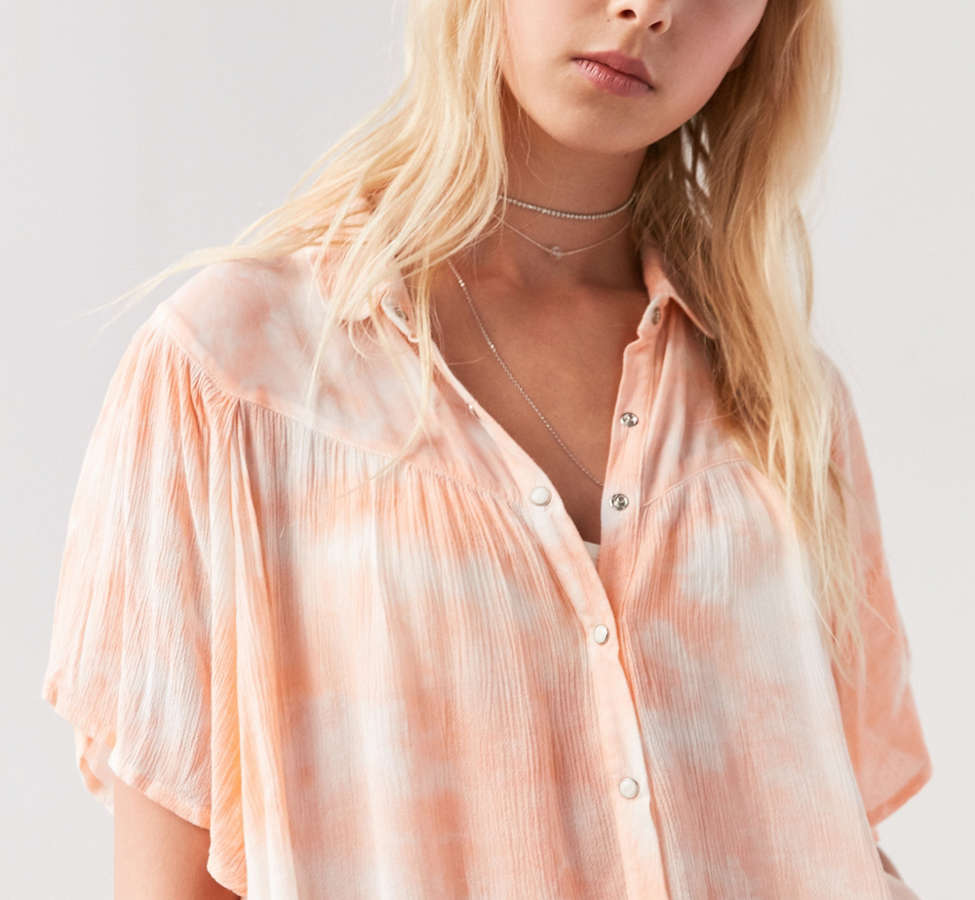 Slide View: 3: Ecote Desiree Button-Front Blouse