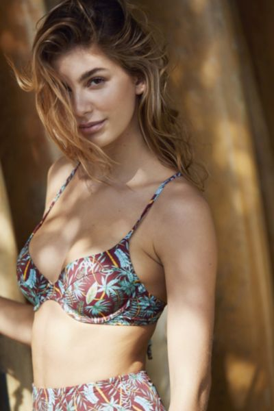 Out From Under Printed Underwire Demi Bikini Top - Rust XS at Urban Outfitters