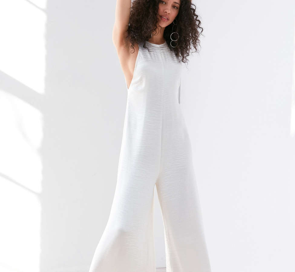 Slide View: 1: Silence + Noise Adella Wide-Leg Satin Jumpsuit