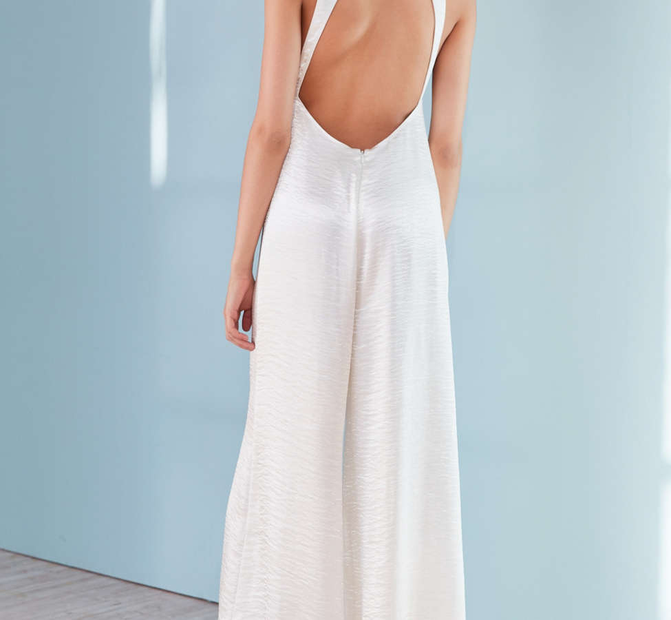 Slide View: 6: Silence + Noise Adella Wide-Leg Satin Jumpsuit