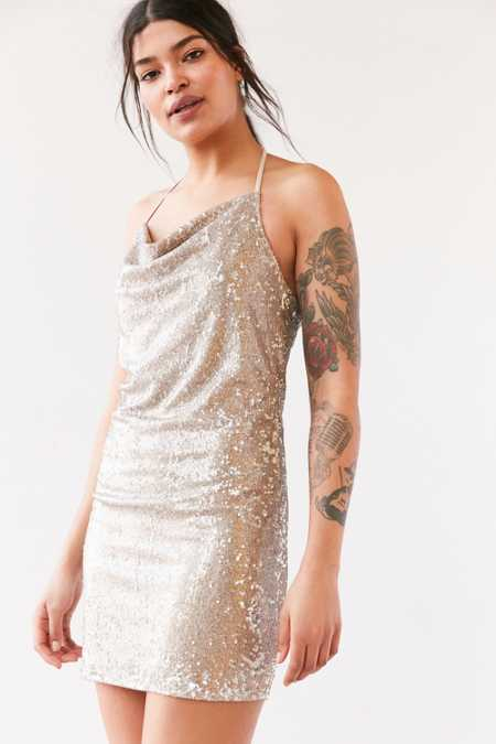 Wyldr London Superstitious Cowl-Neck Sequin Dress