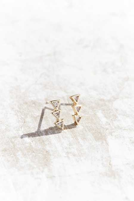 18k Gold-Plated Triangle Rhinestone Post Earring