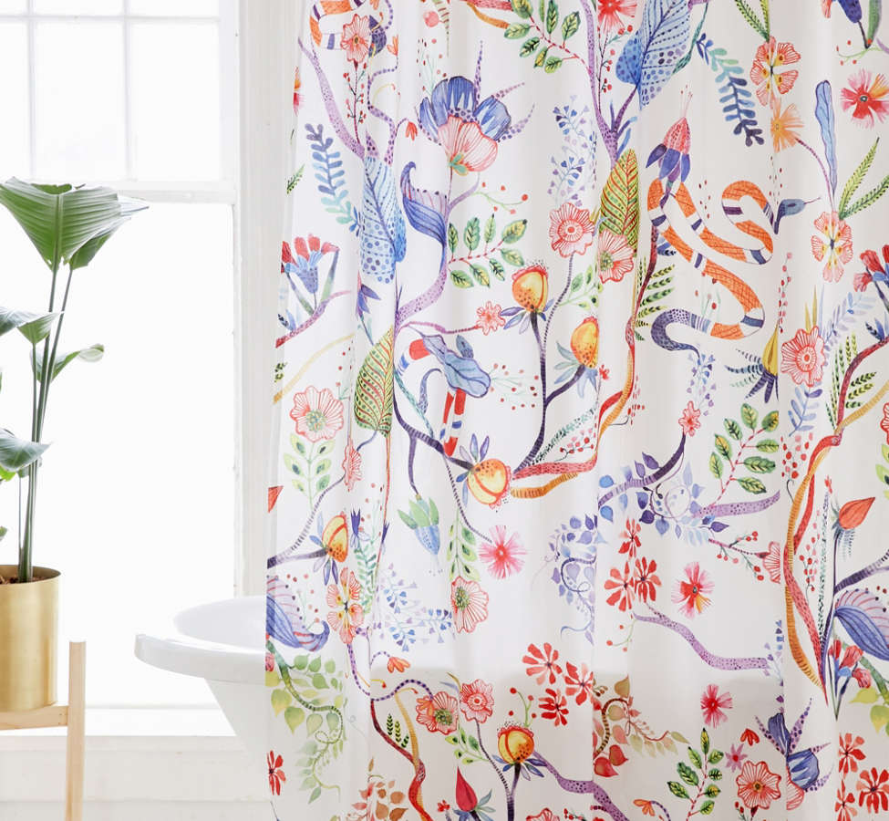 Slide View: 1: Whimsical Floral Shower Curtain