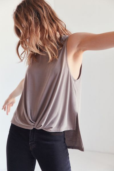 Silence + Noise Virgo Twisted Tank Top - Brown M at Urban Outfitters