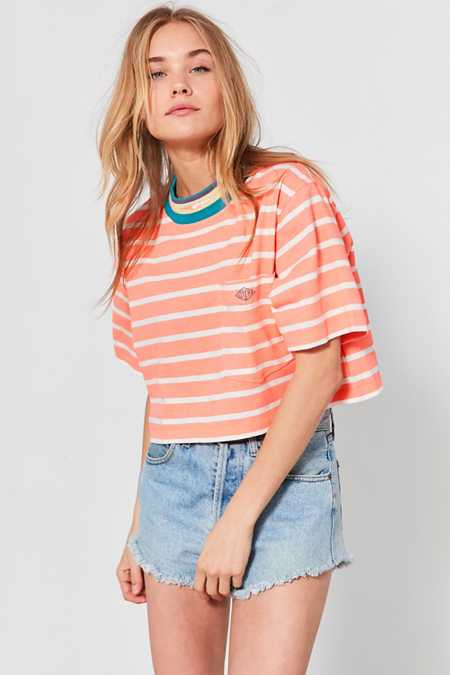 Gotcha For UO Mock-Neck Striped Cropped Tee