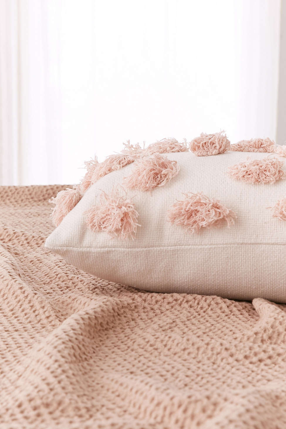 Slide View: 2: Diya Spotted Fringe Bolster Pillow