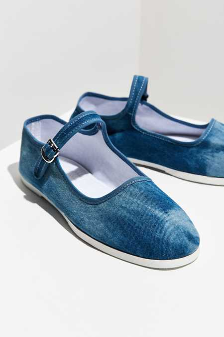 Washed Denim Mary Jane Flat