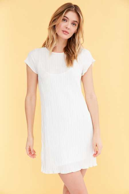 Honey Punch Accordion Pleat T-Shirt Dress