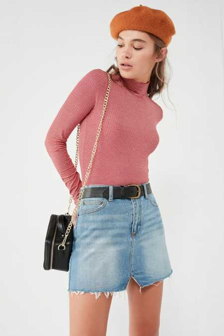 BDG Notched Denim Mini Skirt