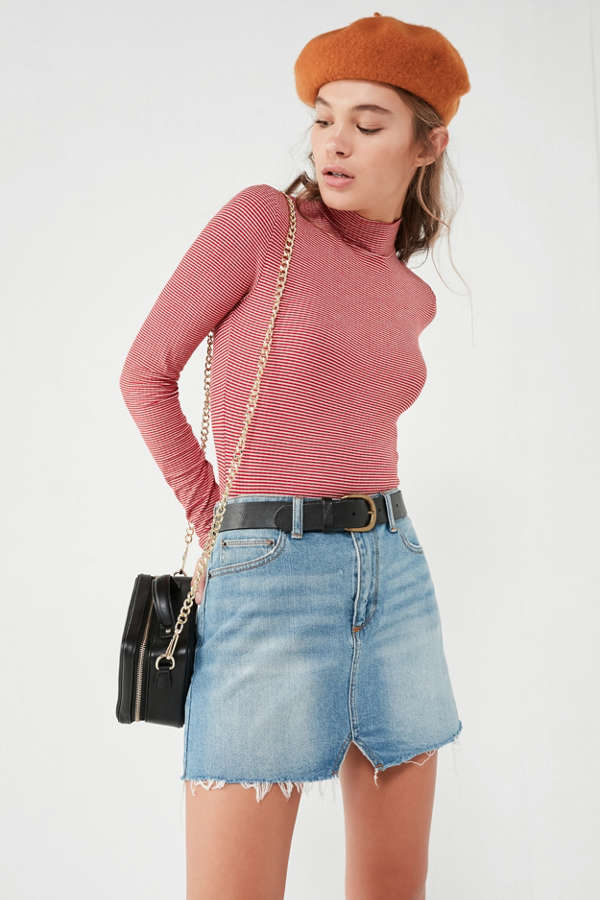 Bdg Notched Denim Mini Skirt Urban Outfitters