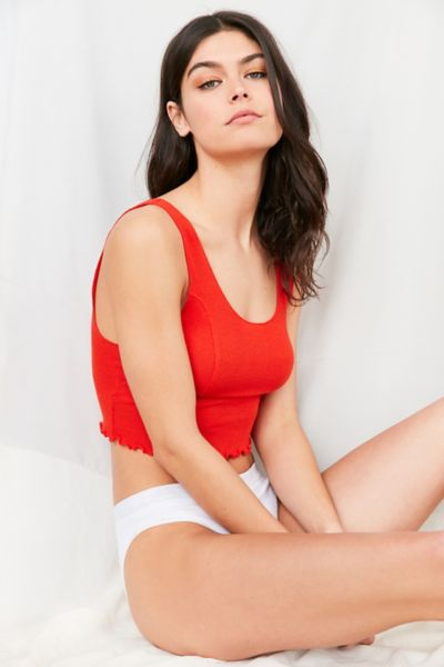 Out From Under Milli Cropped Ribbed Tank Top - Red XS at Urban Outfitters