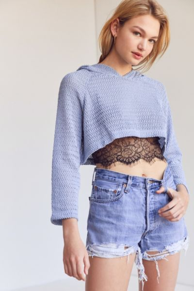 Kimchi Blue Sammy Shrunken Hoodie Sweater - Sky XS at Urban Outfitters