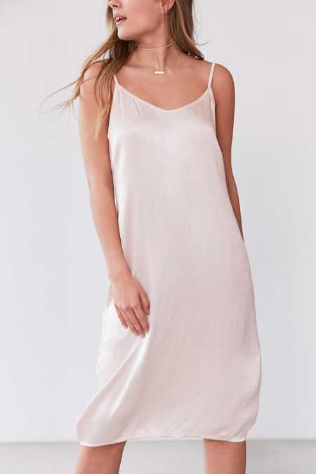 Vetiver Pam Crinkle Satin Midi Slip Dress