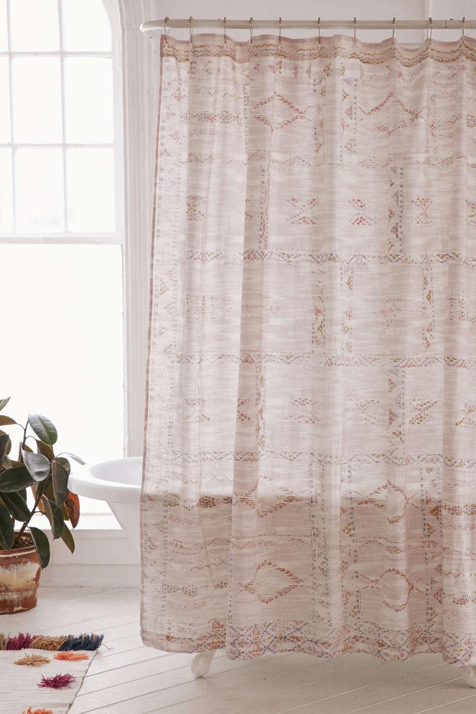 Slide View: 1: Sanna Printed Stitch Shower Curtain