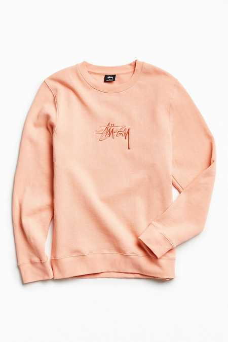 Stussy New Stock Pink Embroidered Crew Neck Sweatshirt
