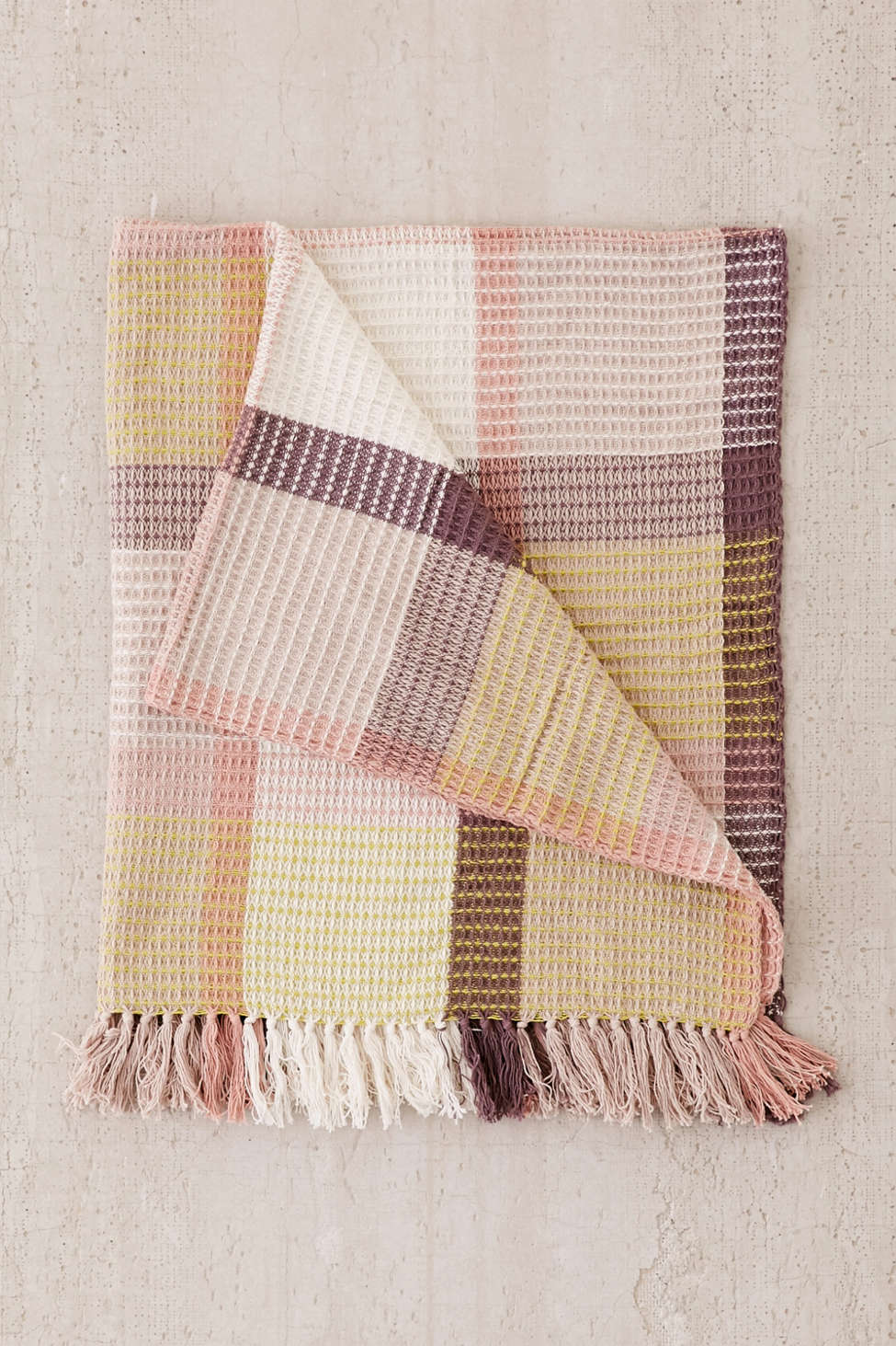 Slide View: 2: Plaid Waffle Knit Throw Blanket