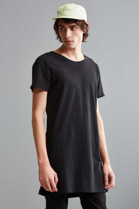 Black Wide Neck Super Long Tee