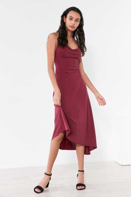Silence + Noise Cowl Neck Asymmetrical Midi Dress