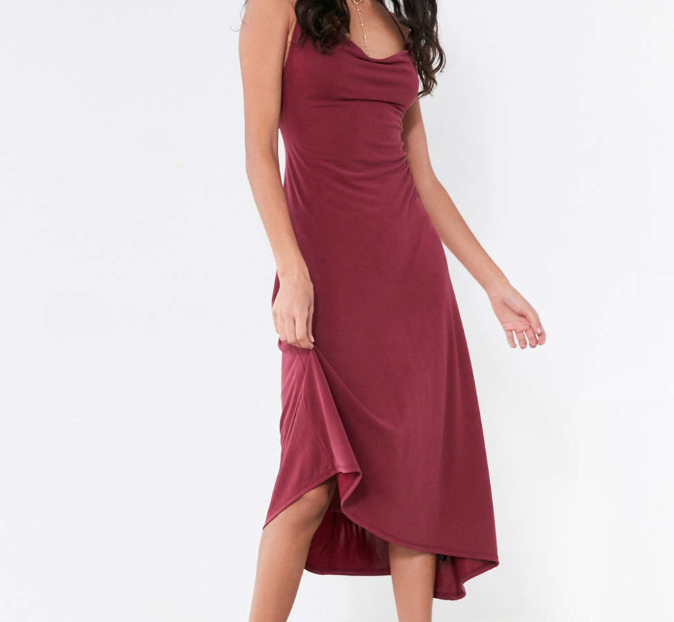 Slide View: 1: Silence + Noise Cowl Neck Asymmetrical Midi Dress