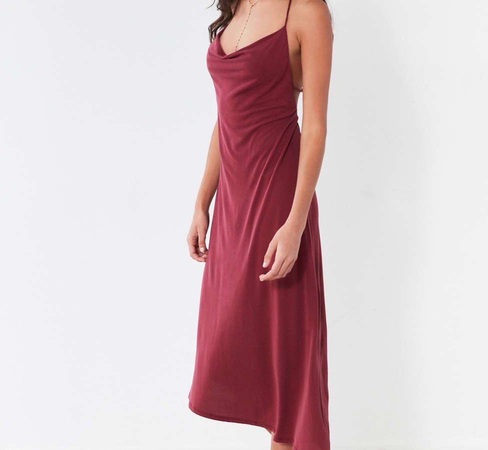 Slide View: 4: Silence + Noise Cowl Neck Asymmetrical Midi Dress