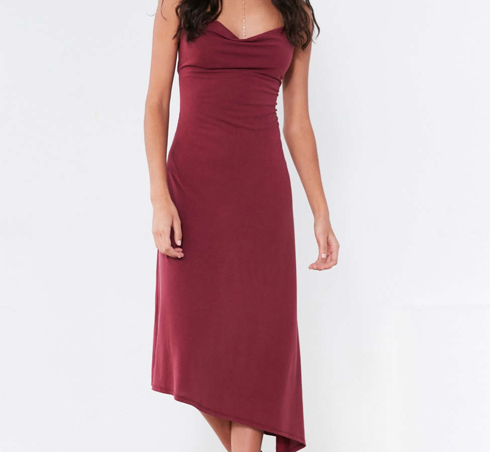 Slide View: 6: Silence + Noise Cowl Neck Asymmetrical Midi Dress
