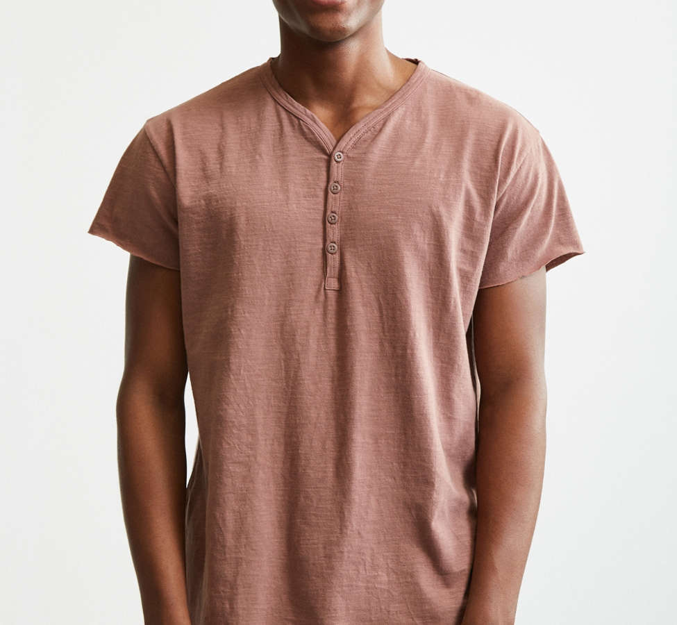 Slide View: 1: Slub Droptail Solid Henley Tee