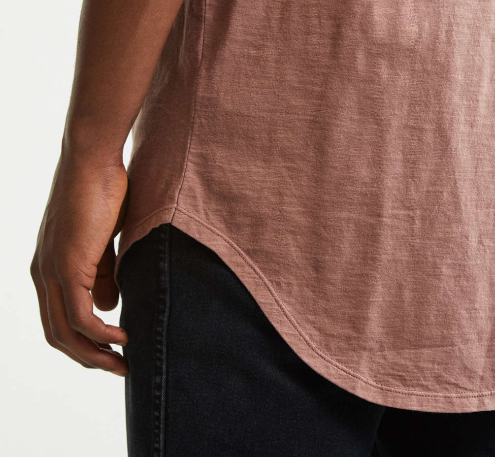 Slide View: 2: Slub Droptail Solid Henley Tee