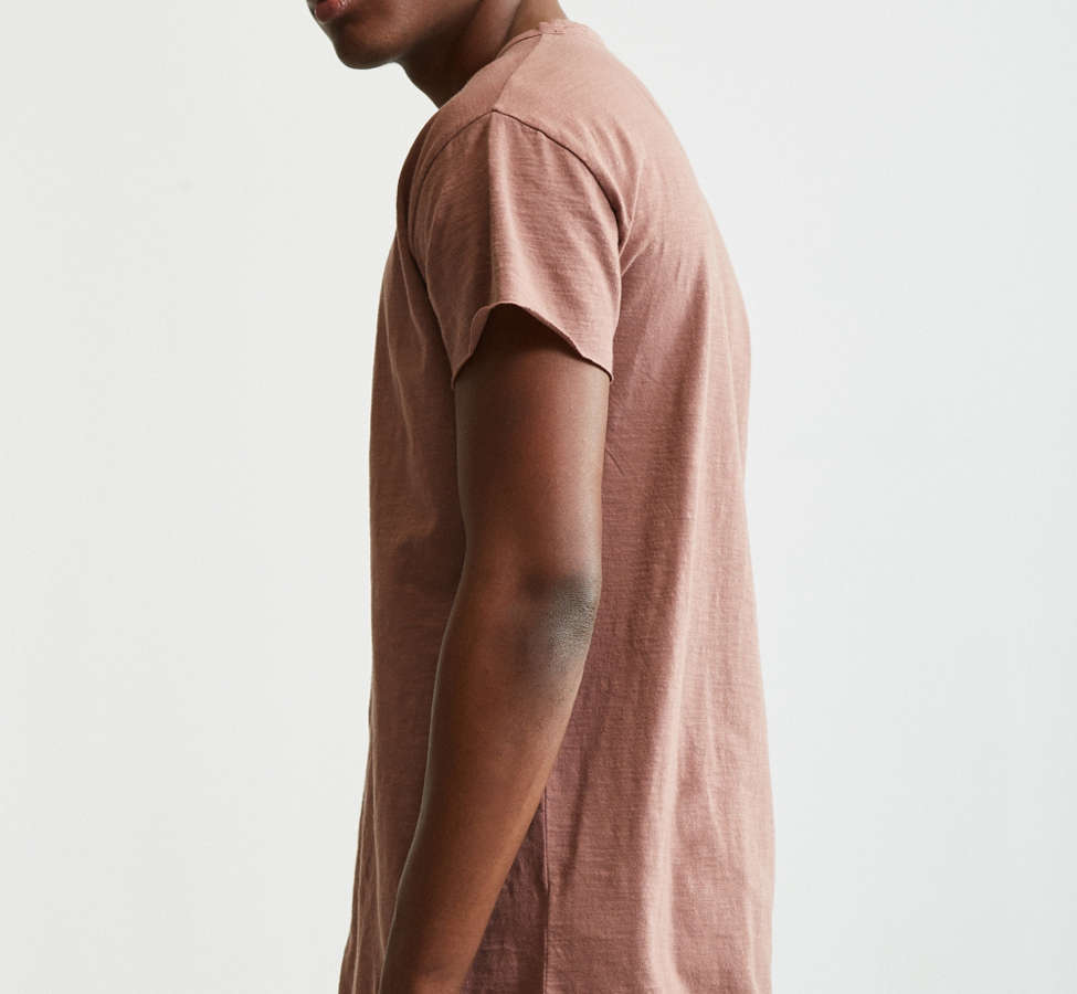Slide View: 3: Slub Droptail Solid Henley Tee