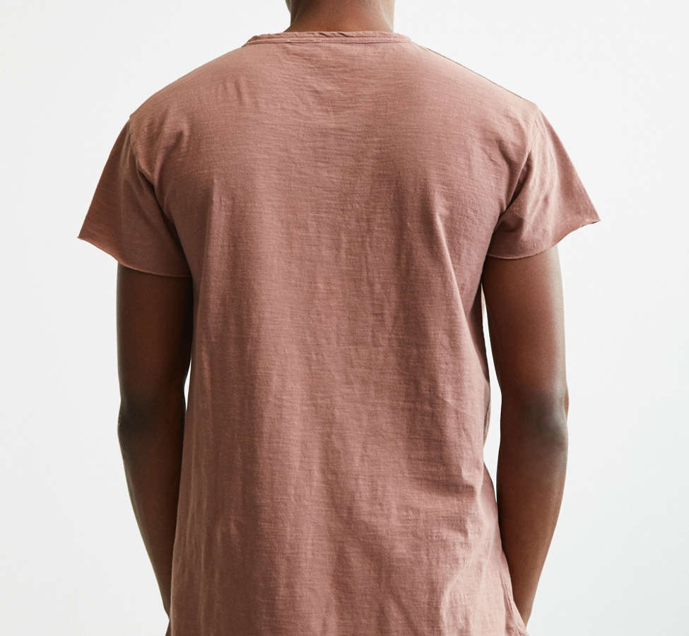 Slide View: 4: Slub Droptail Solid Henley Tee