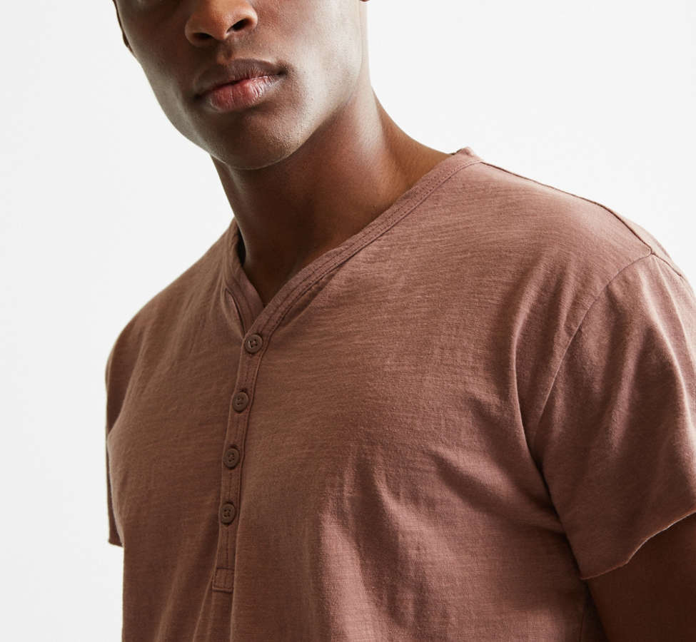 Slide View: 5: Slub Droptail Solid Henley Tee