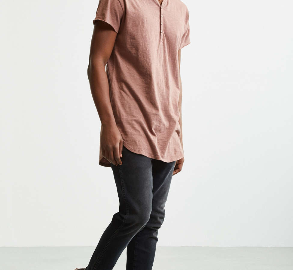 Slide View: 6: Slub Droptail Solid Henley Tee