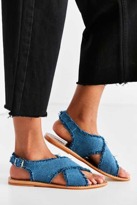 Frayed Denim Cross-Strap Sandal