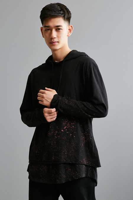 Splattered Double Layer Hooded Long Sleeve Tee
