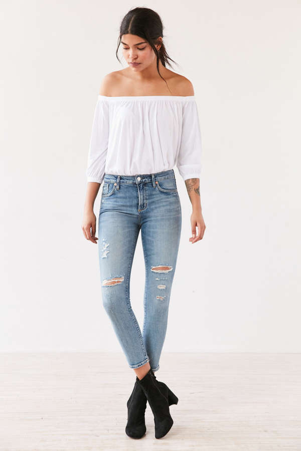 AGOLDE Sophie High-Rise Distressed Cropped Skinny Jean - Outsider ...