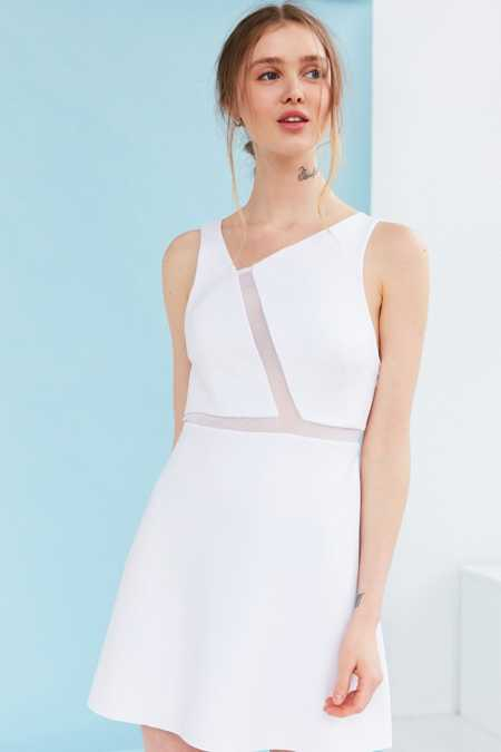 Silence + Noise Misha Asymmetrical Ponte + Mesh Dress
