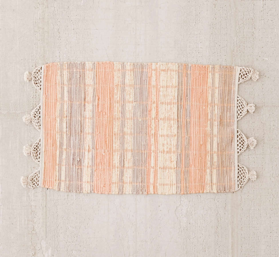 Slide View: 4: Anza Knotted Trim Dye-Stripe Rug