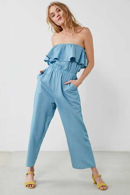 Lucca Couture Strapless Chambray Jumpsuit